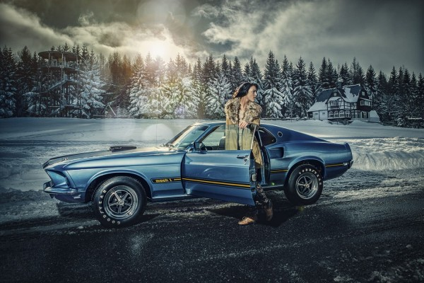 Wandbild 1969 Ford Mustang Fastback Cobrajet im Winter