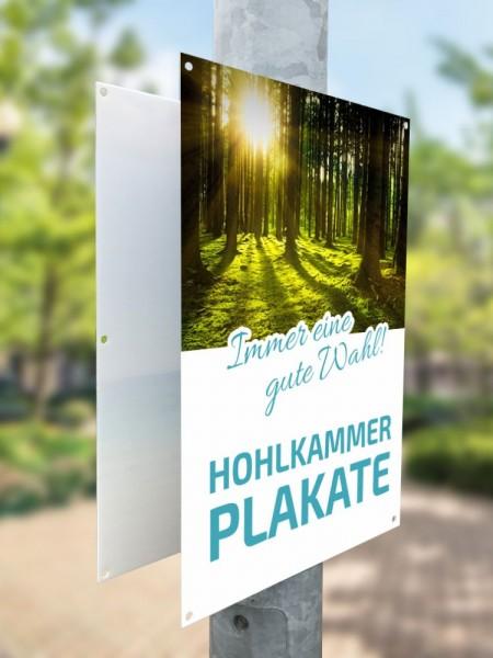 Wahlplakat bedruckt auf Hohlkammerplatte mit 10-Loch-Bohrung