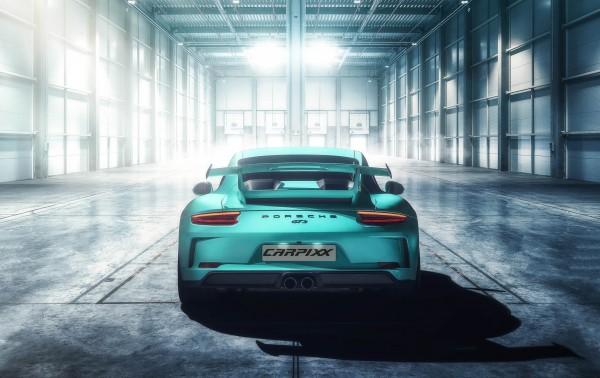 Porsche GT3 Lagerhalle Heckansicht