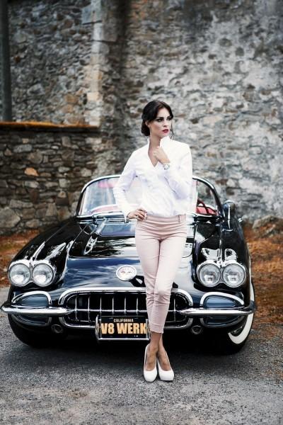 Wandbild 1959 Corvette C1 mit Model Christiane
