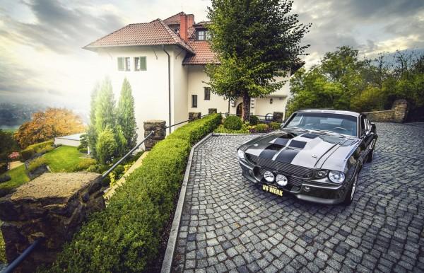 Wandbild 1967 Ford Mustang Eleanor grau von vorne auf Anwesen